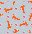 cute seamless pattern with little foxes fox with vector image vector image