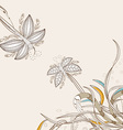doodle floral background hand drawn retro vector image vector image
