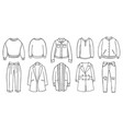 doodle set female clothes for spring autumn vector image