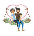 drawing couple love together in swing vector image vector image