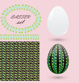 easter set with an ornament of green leaves vector image vector image
