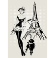 Fashion woman near Eiffel Tower with vector image vector image