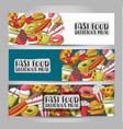 fast food horizontal banner set concept vector image vector image