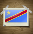Flags Congo Democratic Republic at frame on wooden vector image