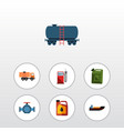 flat icon petrol set of boat flange jerrycan and vector image vector image