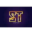 gold golden alphabet letter st s t logo vector image