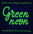 green neon script uppercase and lowercase letters vector image vector image
