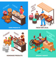 greengrocer market compositions set vector image vector image