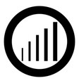 growth chart icon black color in circle round vector image