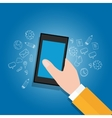 hand holding mobile devices get access to open vector image vector image