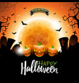 happy halloween with bats pumpkins and moon on vector image vector image