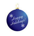 happy holidays on blue ornament vector image vector image
