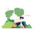 happy woman character pick up mushroom and put it vector image