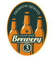 label or banner for the brewery with beer bottles vector image vector image