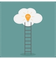 Ladder and cloud with idea light bulb Success vector image
