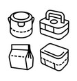 lunchbox outline icon set 2 vector image