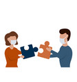 man and woman make up puzzle pieces vector image vector image