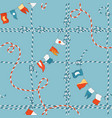 Marine seamless pattern with rope knot and flags