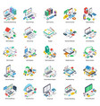 online business isometric pack vector image