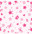 princess pattern background for girls crown vector image vector image