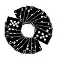 round frame with poker cards spades and diamond vector image