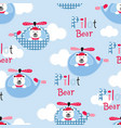 seamless pattern with pilot bears vector image vector image