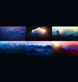 set layered mountains for poster dark blue vector image