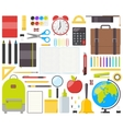 Set of isolated school supplies vector image