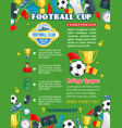 soccer college team football cup poster vector image vector image