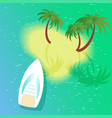 square with boat beach and palm tree vector image