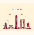 suzhou skyline east china linear style vector image vector image