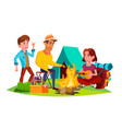 teenagers sitting around campfire and have fun vector image