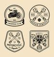 vintage biker club signs motorcycle repair vector image vector image