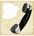 Vintage card with the image of the handset vector image