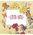 Vintage Floral Greeting Card with Birds and vector image vector image