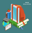 online education flat isometric low poly concept vector image