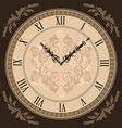 Close-up vintage clock with vignette arrows vector image