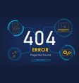 404 high-tech error page not found background vector image vector image