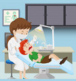 a boy at dental clinic vector image