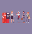 atm line and female assistant helping clients vector image