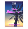 beach party flyer hello summer holidays events vector image