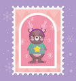 bear with scarf horns and sweater merry christmas vector image vector image