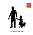 black silhouette man with gun and little girl vector image