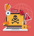 blue color background laptop with attack virus and vector image vector image