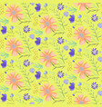 bright yellow doodle floral summer pattern vector image vector image