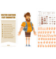 cartoon flat fat hipster man character set vector image vector image
