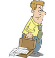 Cartoon tired man carrying a briefcase vector image vector image