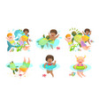 collection kids boys and girls swimming with vector image