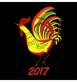 Color fire cock on black background Chinese vector image vector image