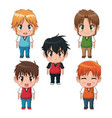 colorful set full body cute anime tennagers facial vector image vector image
